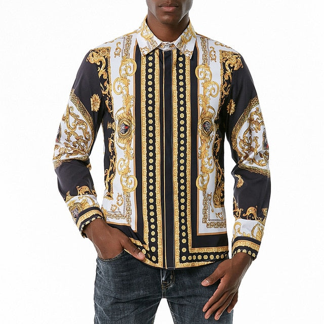 Gold Standard Melanin Crest Tiger Collared Shirt