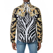 Load image into Gallery viewer, Gold Standard Melanin Crest Zebra Collared Shirt