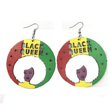 Load image into Gallery viewer, Black Queen Wood Earrings