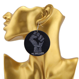 Say Their Names Black Lives Matter Slain Tribute Earrings