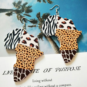 Zebra, Cat, Giraffe Blend Sahara Earrings (1 Pair or Lot of 3 Available for Resale)