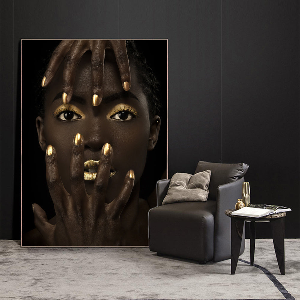 Bold Gold Black Beauty Portrait Canvas