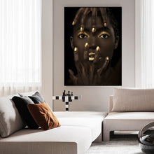 Load image into Gallery viewer, Bold Gold Black Beauty Portrait Canvas