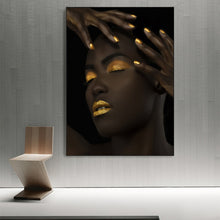 Load image into Gallery viewer, Bold Gold Black Beauty Portrait Unframed Canvas