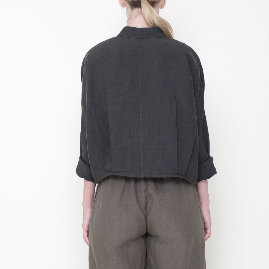 Signature Linen 3/4 Cropped Shirt - Black