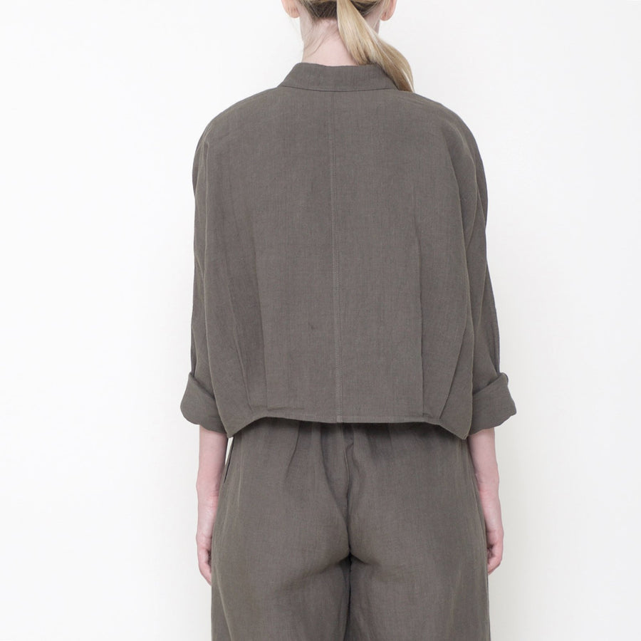 Signature Linen 3/4 Cropped Shirt - Moss