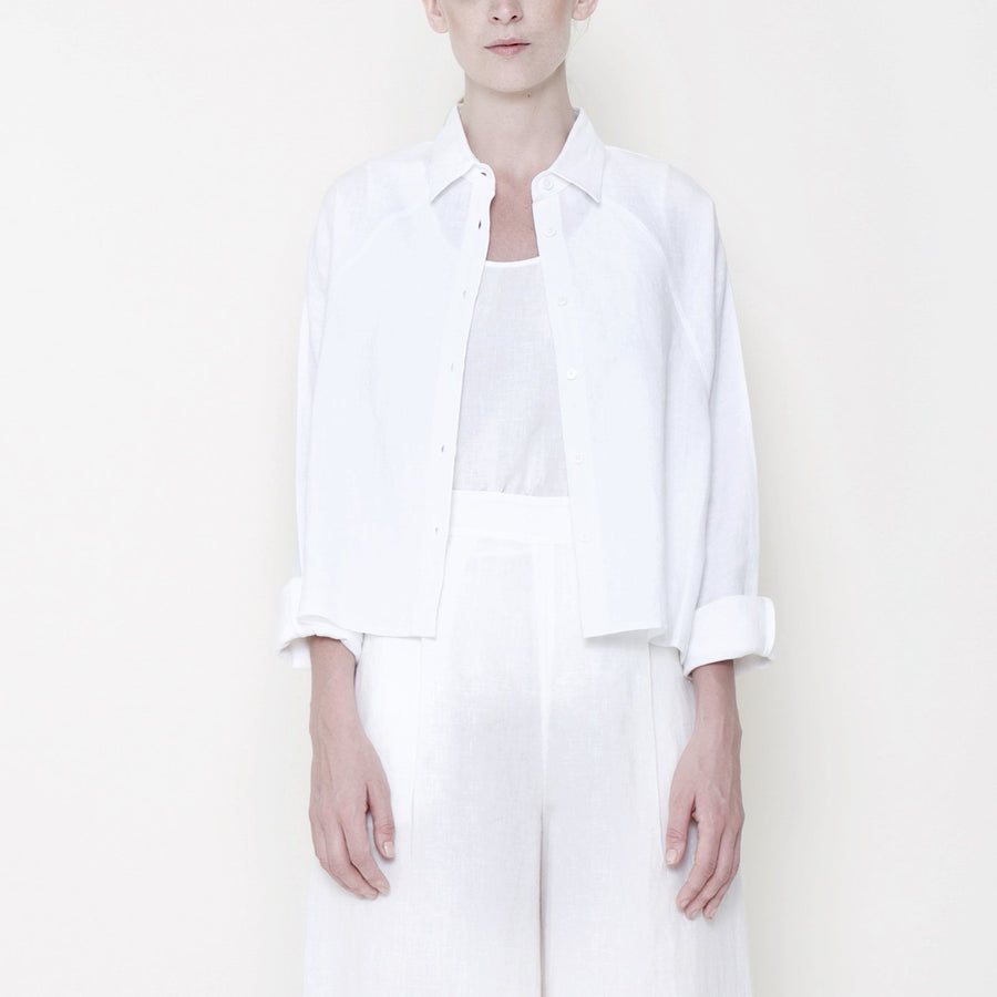Signature Linen 3/4 Cropped Shirt - Off White