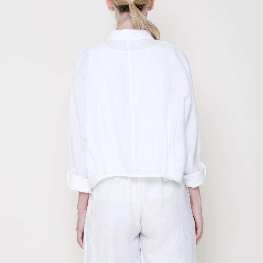Signature Linen 3/4 Cropped Shirt