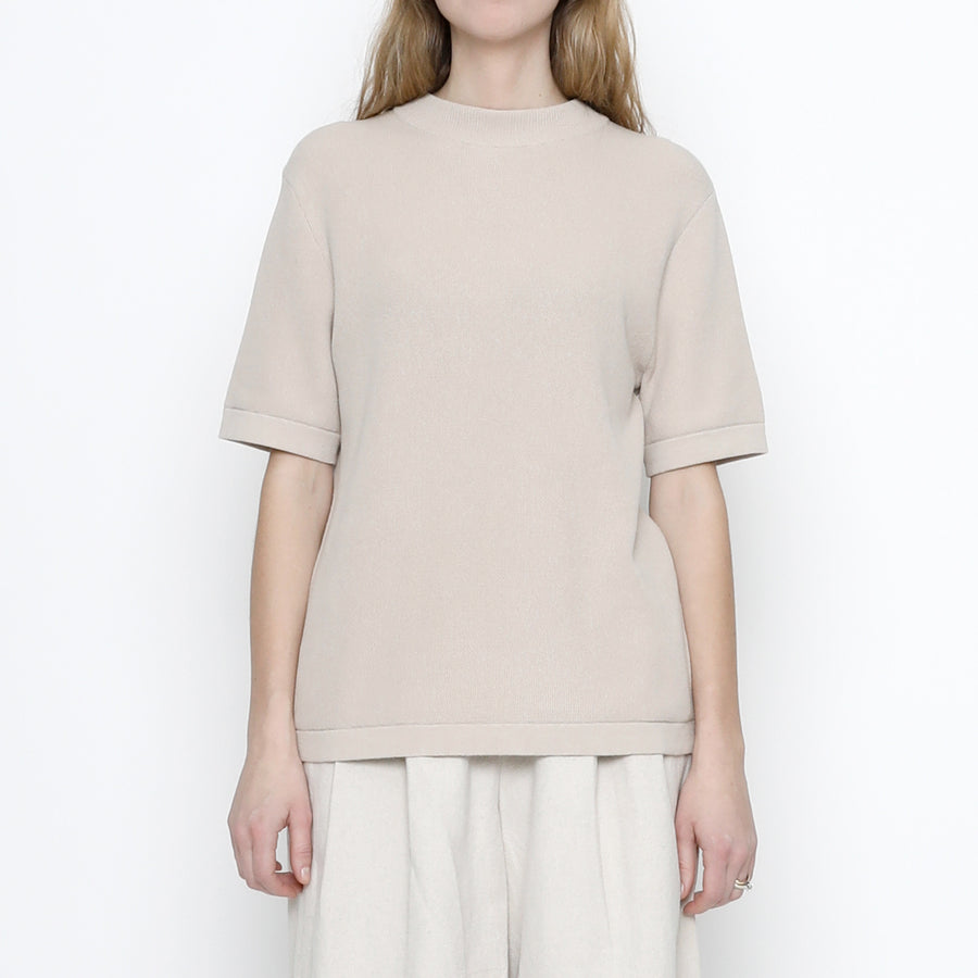 Fine Knit Mock-Neck - Beige