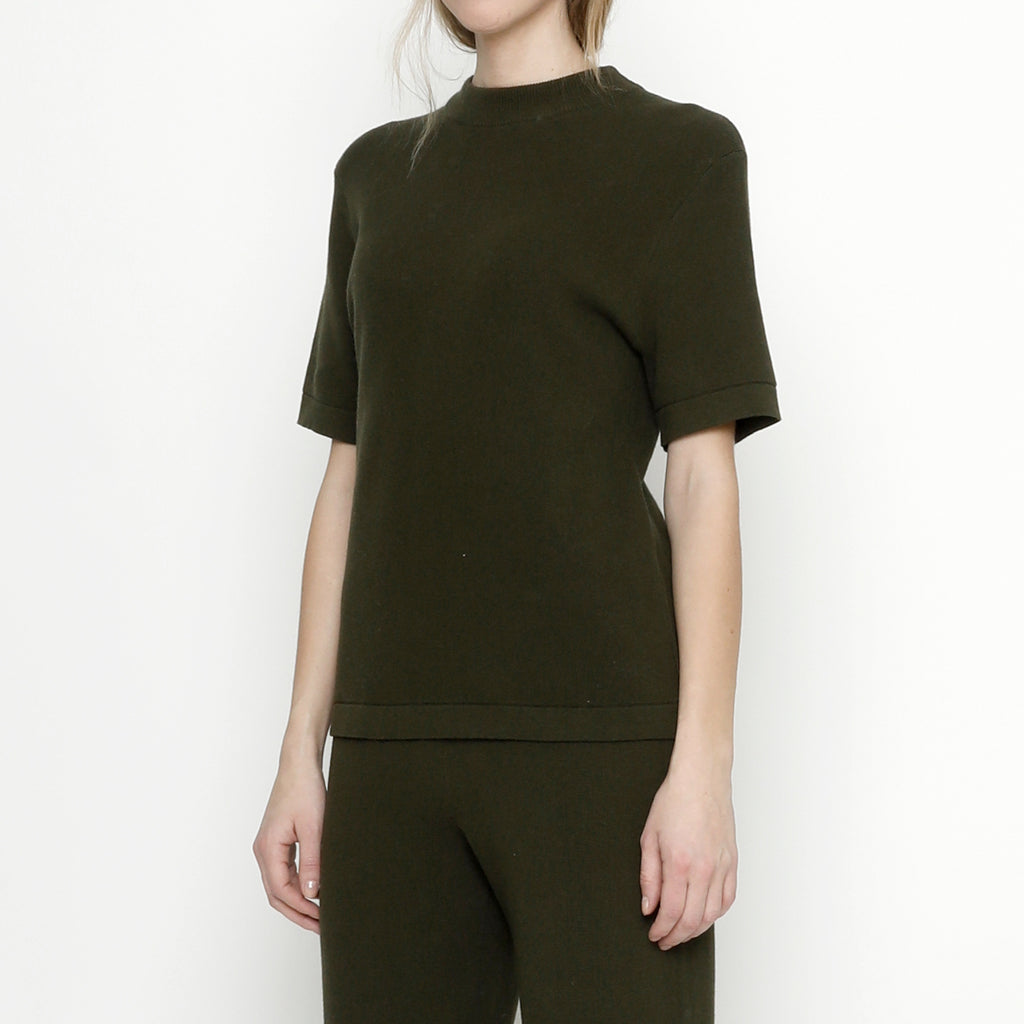 Fine Knit Mock-Neck - Olive