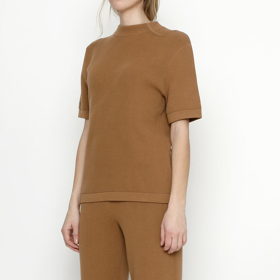 Fine Knit Mock-Neck - Bronze
