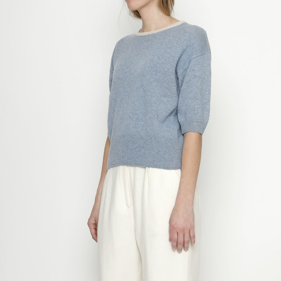 Mid-Sleeves Pullover - Powder Blue