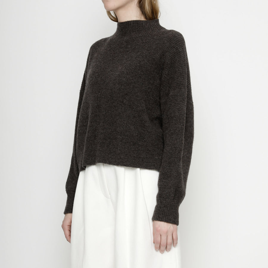 Ribbed Mock-Neck Sweater - Espresso