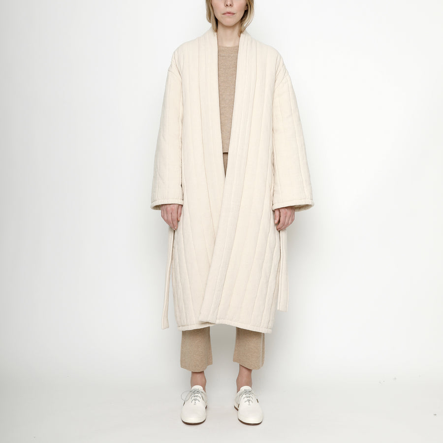 Quilted Long Coat - FW20 - Cream