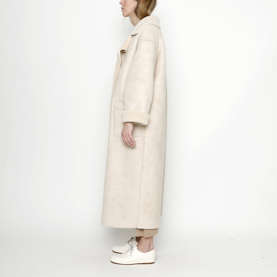 Faux Suede Long Coat - FW20 - Off White