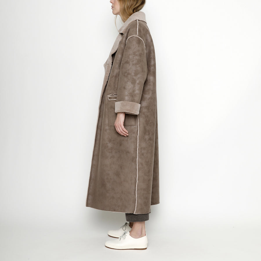 Faux Suede Long Coat - FW20 - Taupe