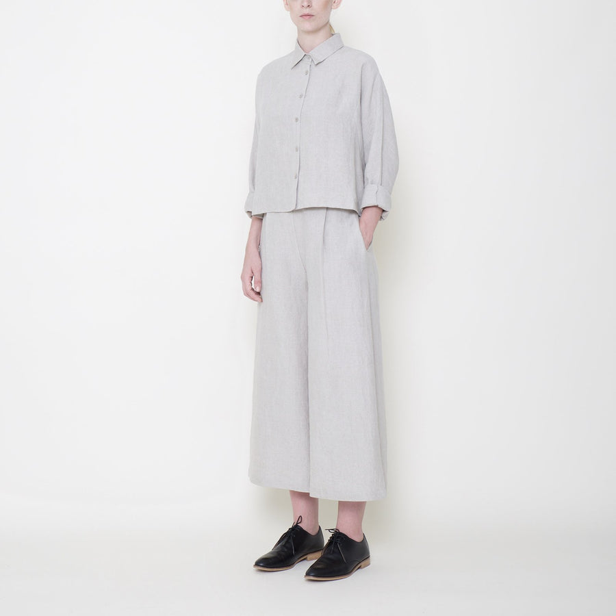 Signature Linen 3/4 Cropped Shirt - Oatmeal