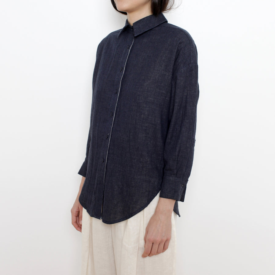 Signature Cotton Dolman Shirt - Navy