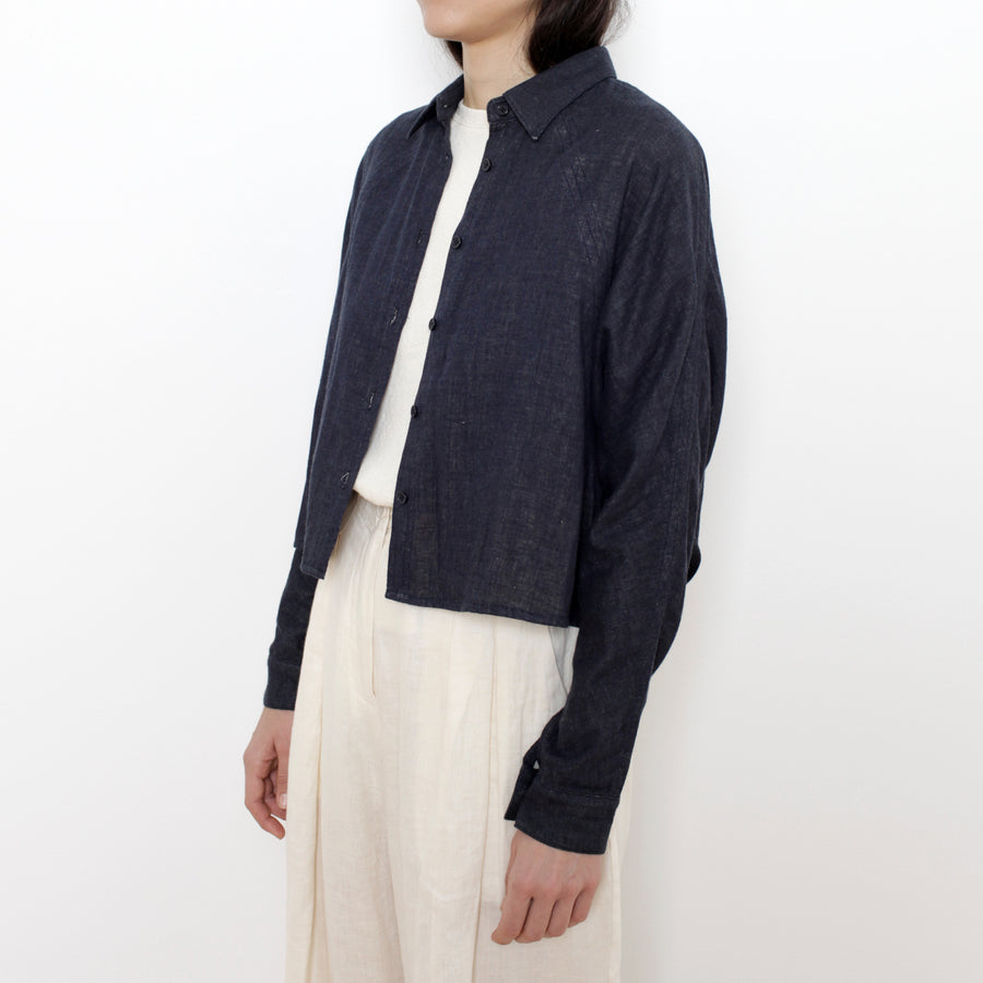 Signature 3/4 Cropped Shirt Jacket - Navy