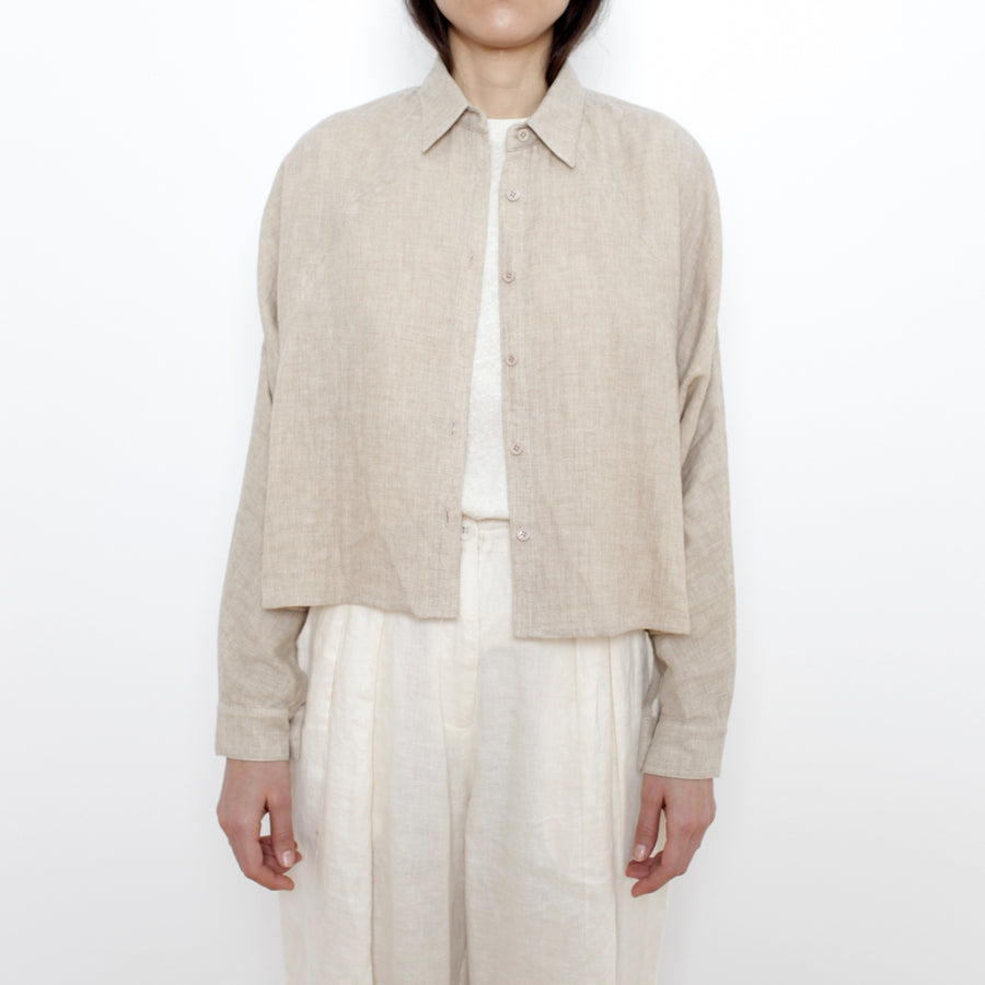 Signature 3/4 Cropped Shirt Jacket - Oatmeal