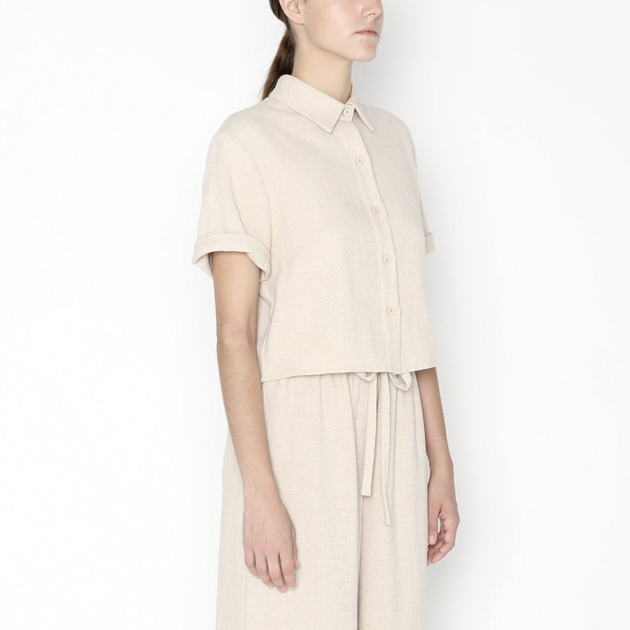 Cropped  Button Down SS20 - Oatmeal