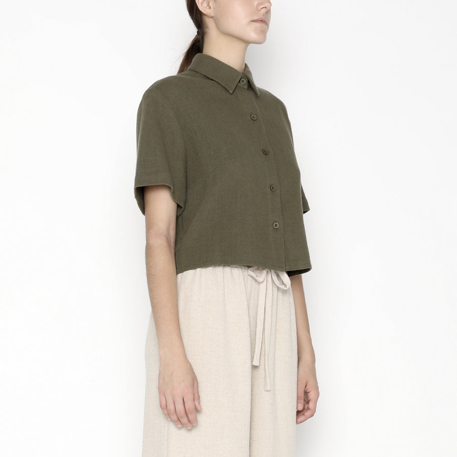 Cropped  Button Down SS20 - Olive