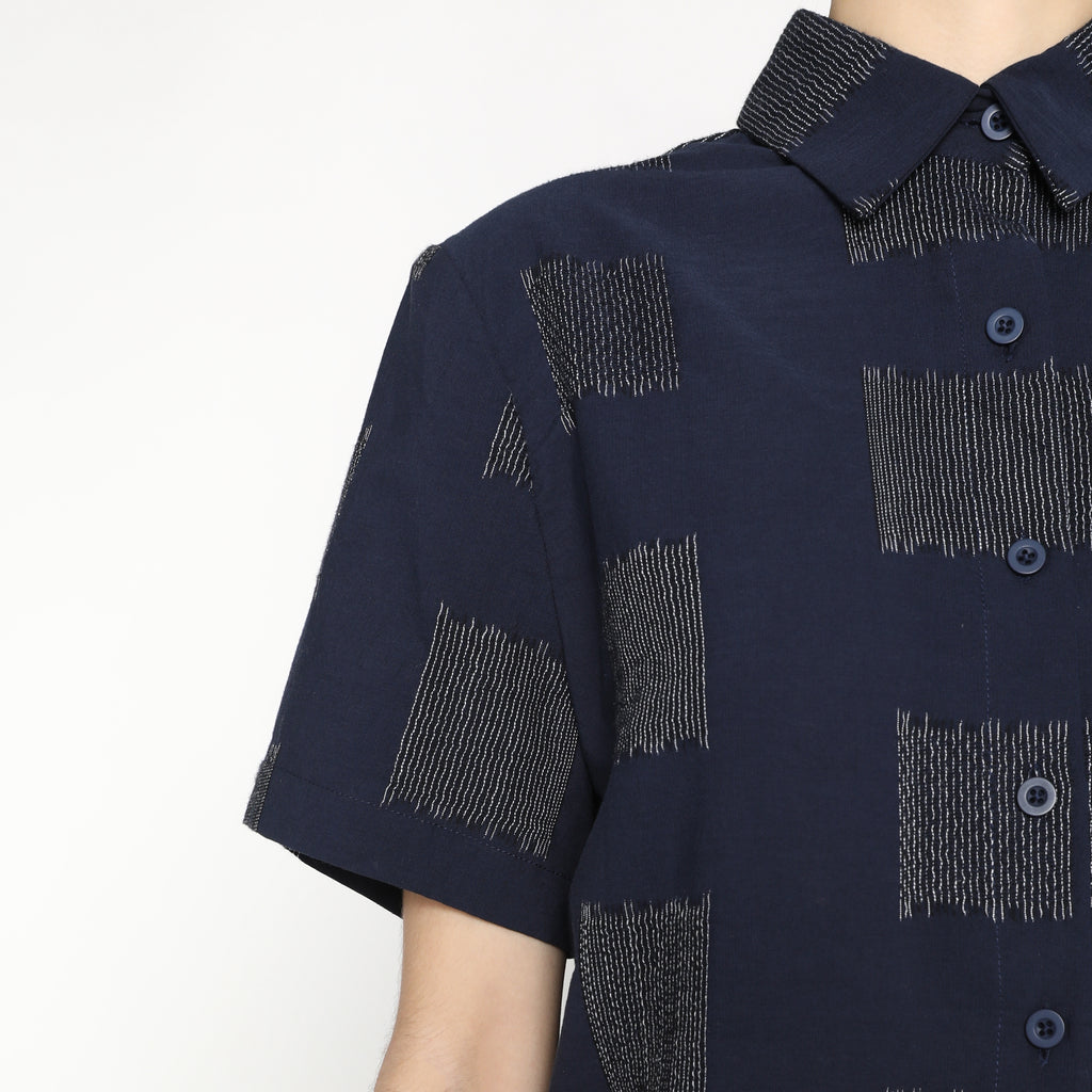 Cropped Button Down - Square SS20 - Navy