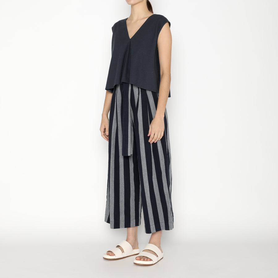 Pleated Trouser - Stripe SS20 - Dark Stripe