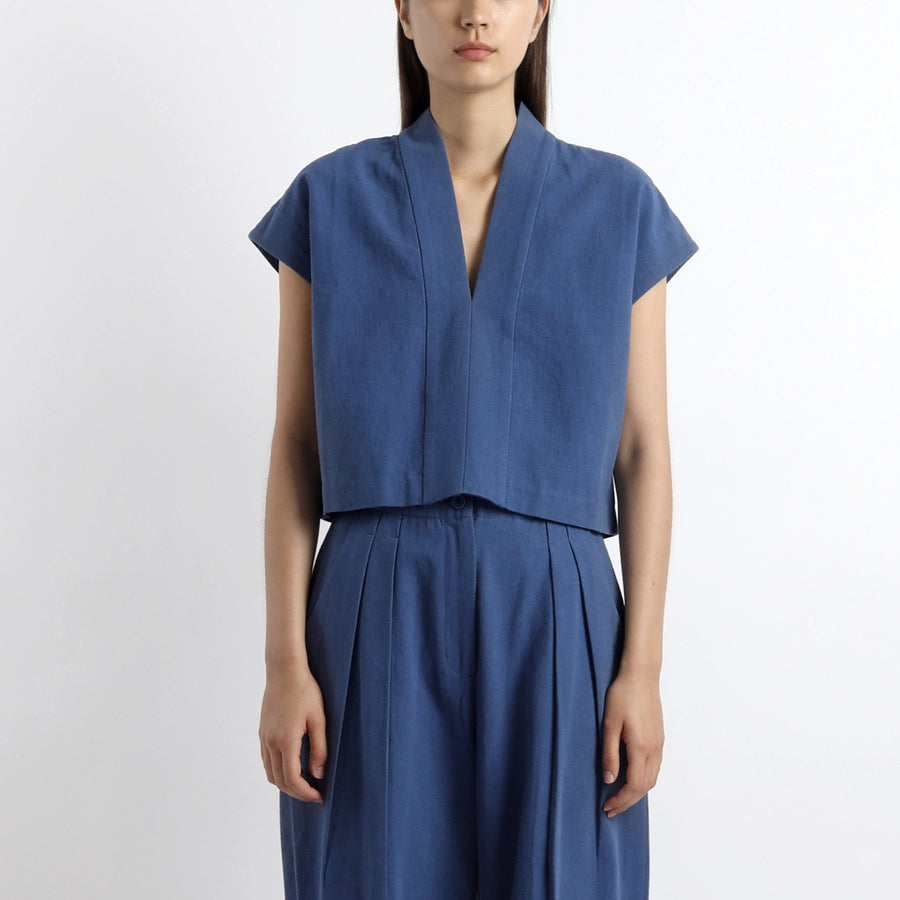 V-Neck Panel Top - SS21 - Cobalt Blue