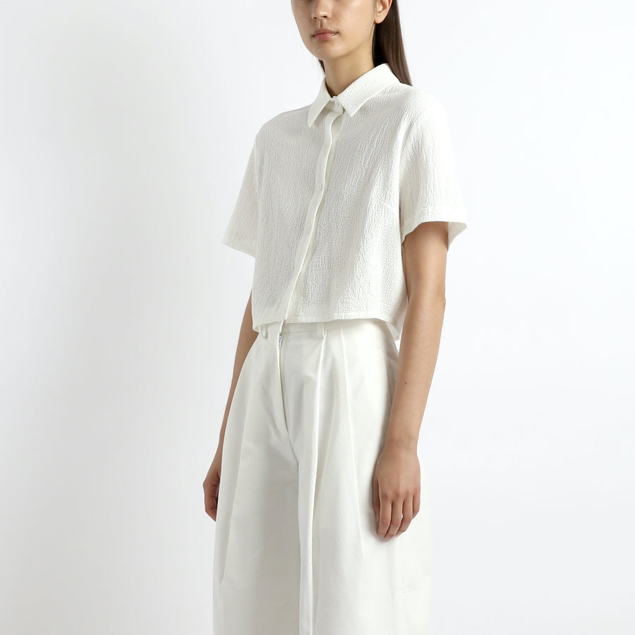 Textured Cropped Button Down - SS21 - Off-White