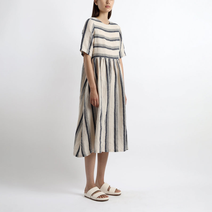 Short-Sleeves Sundress - Stripes - SS21 - Beige (Navy Stripes)