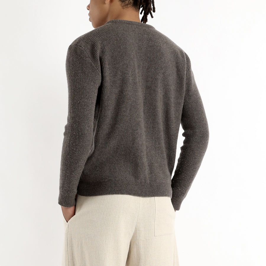 Unisex Fitted Crewneck Pullover - Umber