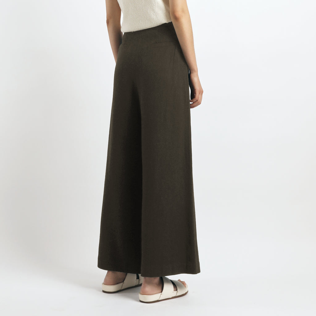 Signature Wide-Legged Trouser - Olive