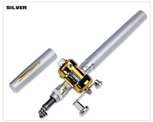 Outdoor Stream Portable Pocket Telescopic Mini Fishing Rod Pole Pen Shape Folded River Lake Fishing Rod With Reel Wheel