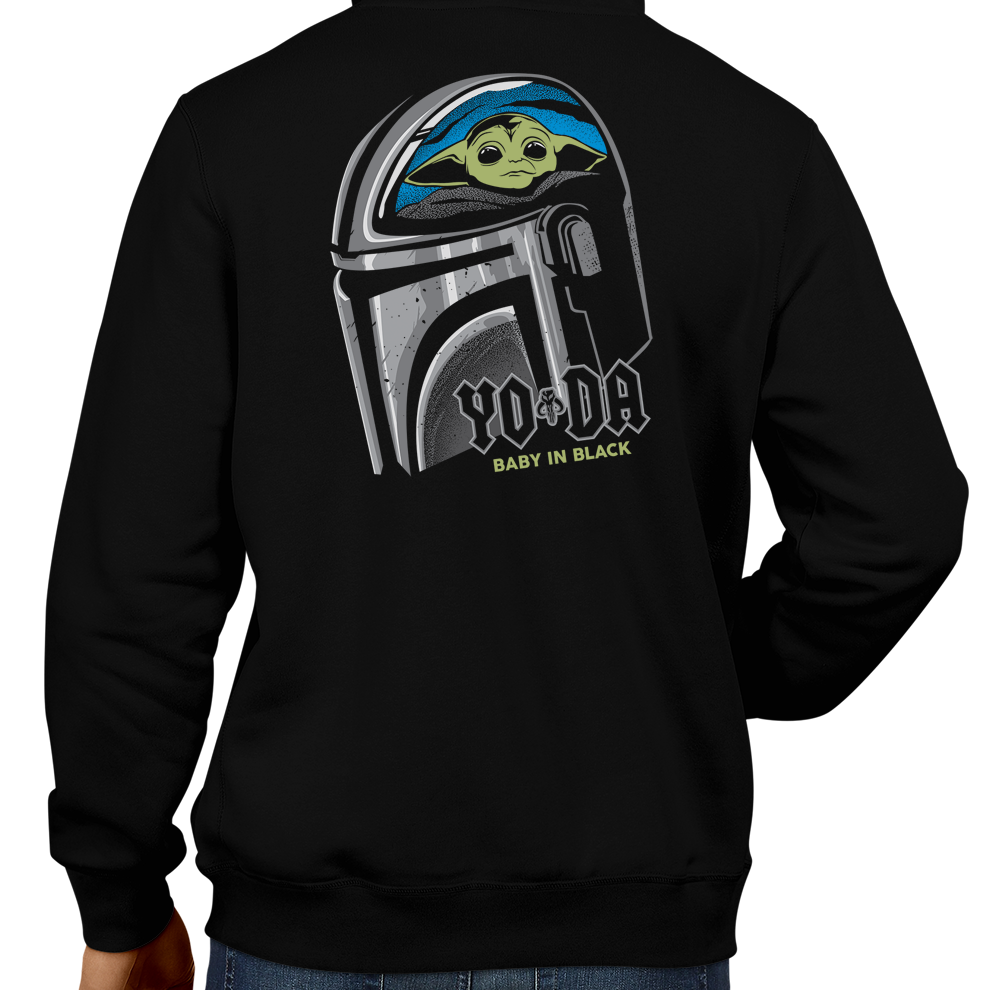 This unisex hoodie rocks. Black Hoodie For Men or Women. Sizes S to 5X - Metalheads, Graphic Art, Rock, Movie, Film, Sci-Fi, Yoda, Baby Yoda, Bounty Hunter, TV Show, Jedi, The Force, Cool, Mandalorian, Warrior, Boba Fett, ROTJ, ANH, Disney, Darth Vader, Han Solo, Cute, Princess Leia, ACDC, Back in Black, Highway to Hell
