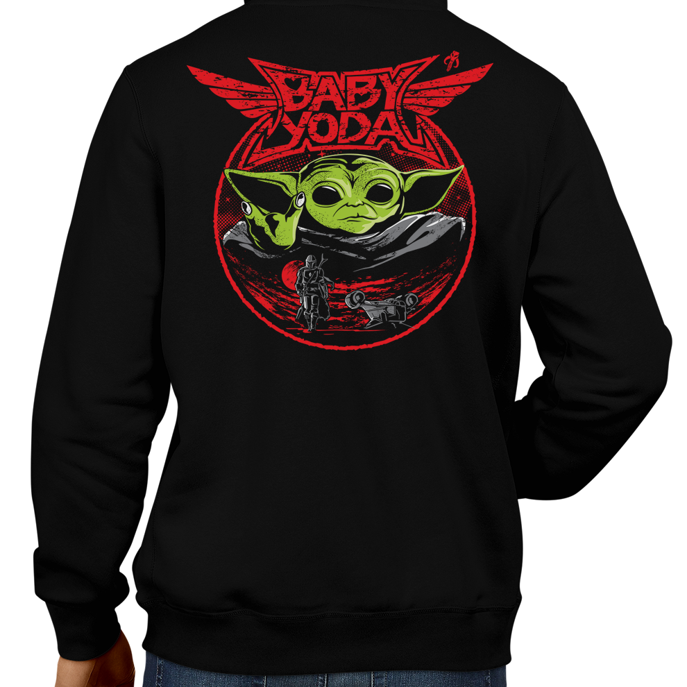 This unisex hoodie rocks. Black Hoodie For Men or Women. Sizes S to 5X - Metalheads, Graphic Art, Rock, Movie, Film, Sci-Fi, Yoda, Baby Yoda, Bounty Hunter, TV Show, Jedi, The Force, Cool, Mandalorian, Warrior, Boba Fett, Baby Metal, Japan, Girls, ROTJ, ANH, Disney, Darth Vader, Han Solo, Cute, Princess Leia