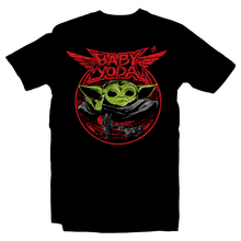 Load image into Gallery viewer, Heavy Metal Tees by Draculabyte l Made from 100% cotton, this unisex t-shirt rocks. Black T-shirt in sizes from small to 6X. Metalheads, Graphic Art, Rock, Movie, Film, Sci-Fi, Yoda, Baby Yoda, Bounty Hunter, TV Show, Jedi, The Force, Cool, Mandalorian, Warrior, Boba Fett, Baby Metal, Japan, Girls, ROTJ, ANH, Disney, Darth Vader, Han Solo, Cute, Princess Leia