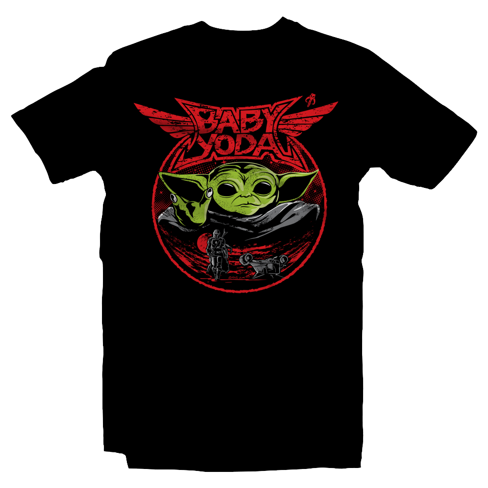 Heavy Metal Tees by Draculabyte l Made from 100% cotton, this unisex t-shirt rocks. Black T-shirt in sizes from small to 6X. Metalheads, Graphic Art, Rock, Movie, Film, Sci-Fi, Yoda, Baby Yoda, Bounty Hunter, TV Show, Jedi, The Force, Cool, Mandalorian, Warrior, Boba Fett, Baby Metal, Japan, Girls, ROTJ, ANH, Disney, Darth Vader, Han Solo, Cute, Princess Leia
