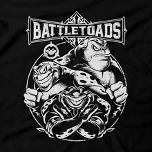 Load image into Gallery viewer, Heavy Metal Tees by Draculabyte l Made from 100% cotton, this unisex t-shirt rocks. Black T-shirt in sizes from small to 6X. Metalheads, Toads, Nes, Zit, Pimple, Rash, Battletoads, Double Dragon, SNES, Nintendo, Super Nintendo, Arcade, Rare, Rareware, Killer Instinct, KI, KI3, Gamer, TMNT, Art, Clothing, Video Game, Retro Gaming, Xbox One, Rare Replay