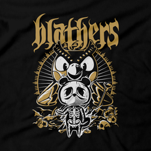 Load image into Gallery viewer, Heavy Metal Tees by Draculabyte l Made from 100% cotton, this unisex t-shirt rocks. Black T-shirt in sizes from small to 6X. Metalheads, Slayer, Smash Bros, Graphic Art, Game Boy, 3DS, New Horizons, Isabelle, Tom Nook, Animals, Dodo, Animal Crossing, Nintendo Switch, Daisy Mae, Blathers, Tom Nook, Behemoth, KK Slider, Fossil, Bones, Skull