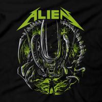 Heavy Metal Tees by Draculabyte l Made from 100% cotton, this unisex t-shirt rocks. Black T-shirt in sizes from small to 6X. Horror, Movie, Film, Scary, Halloween, Evil, Bloody, Killer, Murder, Terror, Alien, Ellen Ripley, Sci-Fi, 1979, Predator, AVP, Nostromo, Acheron, LV-426, Dwayne Hicks, Xenomorph, Facehugger, Shirt, Clothes