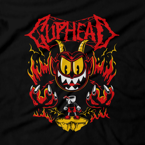Heavy Metal Tees by Draculabyte l Made from 100% cotton, this unisex t-shirt rocks. Black T-shirt in sizes from small to 6X. Metal, Metalheads, Cuphead, Mugman, Don't Deal With The Devil, Retro, Vintage, Cartoon, Run and Gun, Smash Bros Ultimate, Nintendo, Xbox One, 1930s, Boss, Bosses, Coffee, King Dice, Cala Maria, Platformer, Shooter, Contra