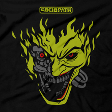 Load image into Gallery viewer, Heavy Metal Tees by Draculabyte l Made from 100% cotton, this unisex t-shirt rocks. Unisex Mens and Womens Size Chart. Small to 6X Tee, Shirt, Video game shirt inspired by Metal, Cyberpunk 2077, Metalheads, Sci-Fi, Science Fiction, 80s, Retro Wave, Robot, Machine, Logo, Keanu Reeves, Mashup, Joker, Batman, Clown, Villain, Gotham City