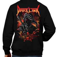 Load image into Gallery viewer, This unisex hoodie rocks. Black Hoodie For Men or Women. Sizes S to 5X - Nintendo, Ocarina of Time, The Legend of Zelda. Video game shirt with Metal, Ocarina of Time, Metalheads, Heavy Metal, Dark Link, OOT, Water Temple, BotwBoss, Dungeon, Graphic Art. N64, Nintendo Shirt, Dark Angel Band, Breath of the Wild.