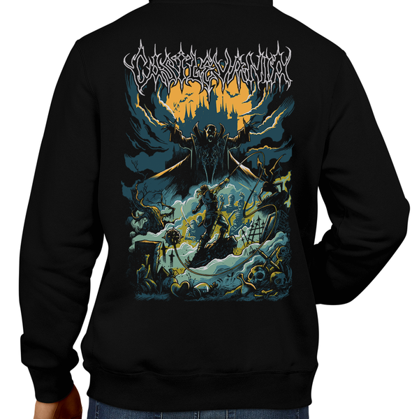 This unisex hoodie rocks. Black Hoodie For Men or Women. Sizes S to 5X - Metal, Metalheads, Gamer, Nes, Nintendo, Pixel, 8-Bit, 1980s, Castlevania, Simon Belmont, Vampire Killer, SOTN, Dracula, Skull, Symphony of the Night, Slayer, Vampire Hunter, Graphic Art, 1986, 1987, Konami