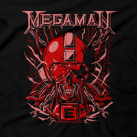 Heavy Metal Tees by Draculabyte l Made from 100% cotton, this unisex t-shirt rocks. Black T-shirt in sizes from small to 6X. Metal, Metalheads, Blue Bomber, SNES, NES, 8 Bit, 80s, 1980s, Rockman, Japan, Japanese, Megaman, Mega Man X, Boss, 90s, 16 Bit, Run and Jump, Retro Gamer, Graphic Art. Robot, Megadeth, Nintendo, Rush, Red