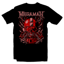 Load image into Gallery viewer, Heavy Metal Tees by Draculabyte l Made from 100% cotton, this unisex t-shirt rocks. Black T-shirt in sizes from small to 6X. Metal, Metalheads, Blue Bomber, SNES, NES, 8 Bit, 80s, 1980s, Rockman, Japan, Japanese, Megaman, Mega Man X, Boss, 90s, 16 Bit, Run and Jump, Retro Gamer, Graphic Art. Robot, Megadeth, Nintendo, Rush, Red