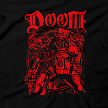 Load image into Gallery viewer, Heavy Metal Tees by Draculabyte l Made from 100% cotton, this unisex t-shirt rocks. Black T-shirt in sizes from small to 6X. Metal, Demon, Hell, Doom, Doomguy, Hellspawn, Art, Clothes, Shirt, Doom Eternal, Nintendo 64, PS4, PC, DOS, 90s, Doom 2, Doom 64, BFG, Pentagram, FPS, John Carmack, Shooter, Rip and Tear, Cacodemon, Cyberdemon, 1993