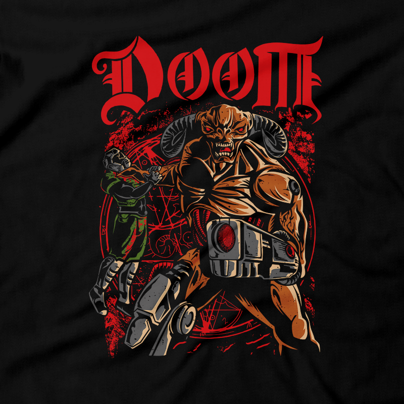 Heavy Metal Tees by Draculabyte l Made from 100% cotton, this unisex t-shirt rocks. Black T-shirt in sizes from small to 6X. Metal, Demon, Hell, Doom, Doomguy, Hellspawn, Art, Clothes, Shirt, Doom Eternal, Nintendo 64, PS4, PC, DOS, 90s, Doom 2, Doom 64, BFG, Pentagram, FPS, John Carmack, Shooter, Rip and Tear, Cacodemon, Cyberdemon, 1993