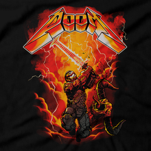 Load image into Gallery viewer, Heavy Metal Tees by Draculabyte l Made from 100% cotton, this unisex t-shirt rocks. Black T-shirt in sizes from small to 6X. Metal, Demon, Hell, Doom, Doomguy, Hellspawn, Art, Clothes, Shirt, Doom Eternal, Nintendo 64, PS4, PC, DOS, 90s, Doom 2, Doom 64, BFG, metallica, FPS, John Carmack, Shooter, Rip and Tear, Cacodemon, Cyberdemon, 1993